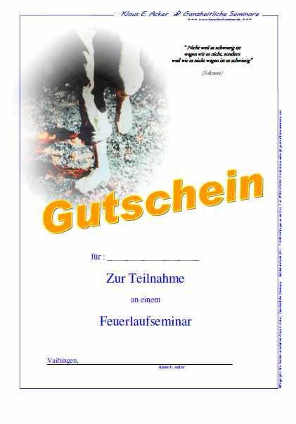 Das Foto zeigt einen Gutschein als Geschenk für ein Feuerlaufseminar mit Klaus E. Acker.